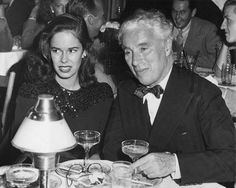 Charlie Chaplin and his wife, Oona O'Neil Chaplin, who was also the daughter of Eugene O'Neil.