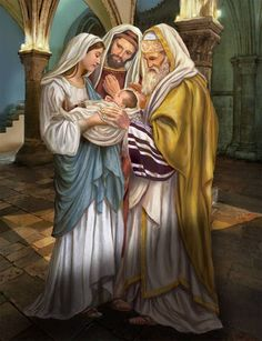 Catholic Gifts and More: Candlemas - The Presentation of Jesus in the Temple Catholic Gifts, Catholic Art, Religious Art, Religious Pictures, Jesus Pictures, Image Jesus, Jesus In The Temple, Bless The Child, Saint Esprit