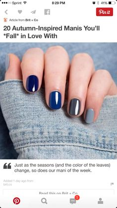 Blue multicolor nails.