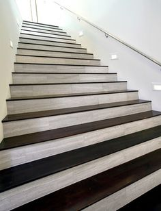 Wood Tile Treads With Marble Risers... I Knew I Wasnu0027t The