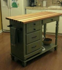 Old desk turned into a kitchen island