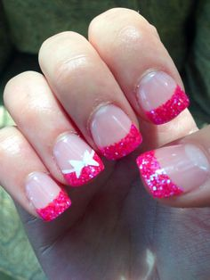 Pink glittery nails with white bow