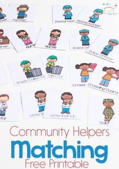 This free printable community helpers matching game is a great way to introduce preschoolers to the members of their community Teaching kids who the helpers are is so imp. Community Helpers Lesson Plan, Community Helpers Worksheets, Community Helpers Activities, Community Helpers Kindergarten, Community Jobs, Community Workers, School Community, Classroom Community, Kindergarten Social Studies