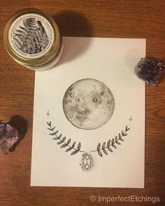 Moon with Laurel #original #watercolor via @imperfectetchings…