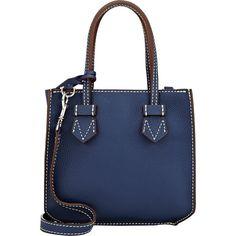 Moreau Women's Bregançon Top Zip Mini-Tote featuring polyvore, women's fashion, bags, handbags, tote bags, blue, blue leather purse, blue tote, leather tote, leather tote handbags and leather handbags