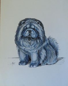 Whimsical Blue Chow Chow By Kathleen Zins. Original. Owned and curated by The Pendragwn Group