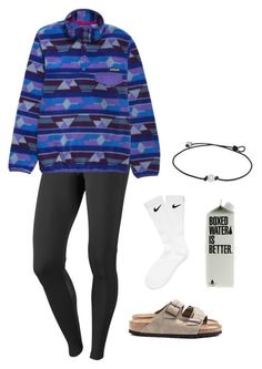 birkss and sockss by georgiaheadley ❤ liked on Polyvore featuring NIKE, Patagonia and Birkenstock