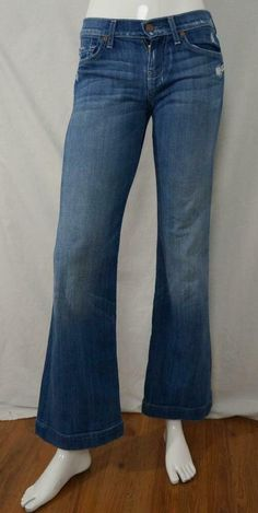 7 For All Mankind Dojo Flare Jeans Distressed Wisking Medium Wash USA sz 25 X 31 #7ForAllMankind Trouser Jeans, Wide Leg Jeans, Jeans Size, Skinny Jeans, Capri Blue, Denim Flares, Low Rise Jeans, Dojo, Distressed Jeans