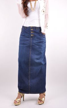 Long denim skirts vogue – Cool novelties of fashion 2017 photo blog