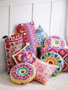 Floor Pillows, Throw Pillows, Patio Pillows, Deco Originale, Embroidered Cushions, Indian Home Decor, Bohemian Decor, Bohemian Design, Boho Chic