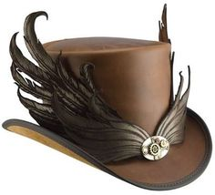 Steam Punk Hat-simple yet you know what fashion it is ,the little metal piece is a nice touch, and the wings just make it more interesting its like some bird of prey