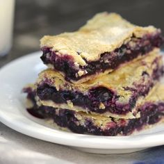 Just like mini-pies, these blueberry squares are full of fruit flavor ...