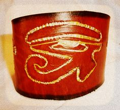 Ioni's Creations leather cuff.  Choose size, width, color & symbols  #IndieRack @IndieRackExpo https://www.etsy.com/listing/112531150/leather-eye-of-heru-horus-bracelet?ref=shop_home_active_12