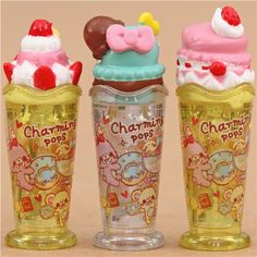 ice cream sundae glitter pencil caps with bear rabbit sweets Japanese Stationery, Kawaii Stationery, Kawaii Gifts, Kawaii Stuff, Chapstick Lip Balm, Cute Stationary, Love Ice Cream, Pencil Toppers, Modes4u