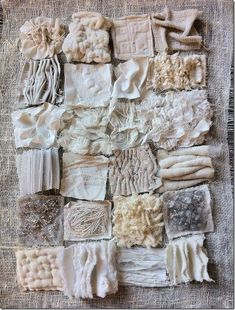 Textiles texture samples using fabric manipulation to achieve different surface effects by gathering, layering and stitching Textile Texture, Textile Fiber Art, Fabric Textures, Textures Patterns, White Fabric Texture, Visual Texture, Textile Artists, Home Textile, Paper Texture