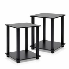 Furinno Simplistic End Table set of 2  Fits in y our space fits on your budget  Material: carb compliant composite wood and PVC tubes  Sturdy on flat surface; Easy no hassle no tools 5-minutes assembly even a kid can accomplish  Perfect for small area end table or night stand. It can be used as indoor plant stand as well  Item Weight: 13 pounds  Assembled Height: 19.6 inches  Assembled Width : 15.6 inches  Assembled Length: 15.6 inches  Weight: 14 Pounds  For additional information customer…