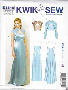 Kwik Sew Sewing Pattern 3516 Misses Sizes 8-22 Strapless Straight Cut-on Train Gown Bolero  --  Currently Available for sale from www.MoonwishesSewingandCrafts.com