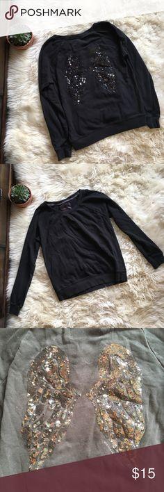 Victoria's Secret Angel Crew Neck Sweatshirt Super cute sweatshirt. Has sequin angel wings on the back. Has been worn so it's a little faded but still in good shape! Victoria's Secret Tops Sweatshirts & Hoodies