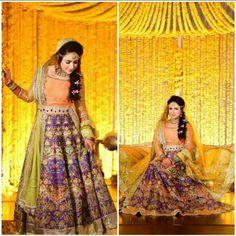 """#bride #wedding #traditional #colorful #AliXeeshan #signature #ensemble #yellow #orange #purple #florals #ethnic #weddingseason #weddingvows…"""