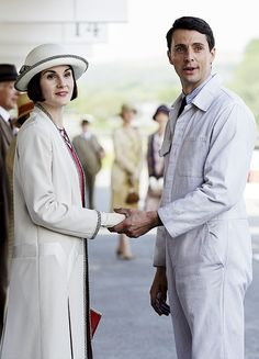 Downton Abbey Season 6 Episode Lady Mary Crawley & Henry Talbot at the racetrack. Lady Mary Crawley, Downton Abbey Season 6, Downton Abbey Fashion, Yorkshire, Mathew Goode, Julian Fellowes, Michelle Dockery, Best Tv, Movies And Tv Shows