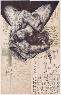 'night shift' Bic biro drawing on four antique postcard on Behance