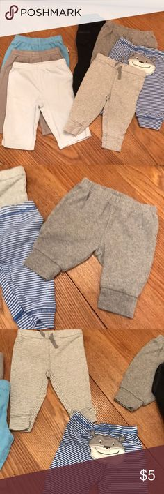 Lot of 7 baby boys pants size 0-3, 3 Month Carters Lot of 7 baby boys pants in size 0-3 and 3 Month. EUC - no marks or stains. Brands are mainly Carters with one each of Gerber onesie and Circo. The three pairs to the left of the group photo are the 0-3 Month pairs. The rest are 3 Month. All are lightweight cotton except for the black pair which is a fleece material. Smoke free home, fast ship! Carter's Bottoms Casual