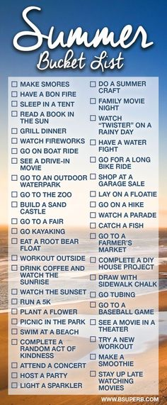 Summer Bucket List Sounds like what I need with some changes and add on's