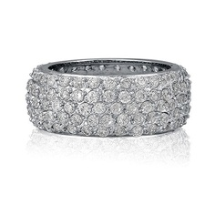 Sterling Silver 5-Row Round Cubic Zirconia CZ Eternity Band Ring from Berricle - Price: $63.99