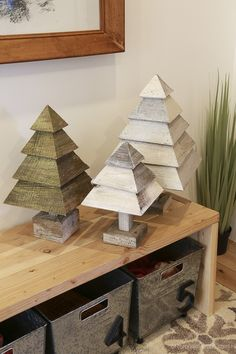 How to Build 3D Wood Trees for Christmas and Winter Decor