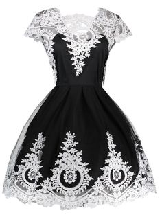 Lace Panel Vintage Fit and Flare Dress - BLACK M Mobile