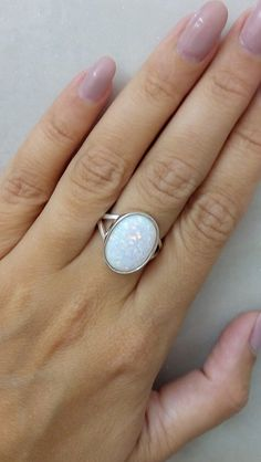 SALE! Opal ring,white opal ring,statement oval ring,sterling silver ring,opal jewelry,cocktail ring,handmade ring by candybohojewelry on Etsy https://www.etsy.com/listing/238740925/sale-opal-ringwhite-opal-ringstatement