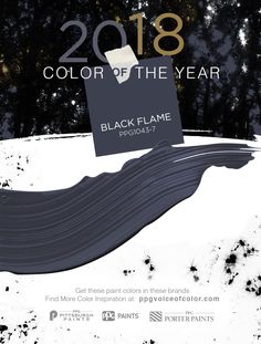 Color of the Year 2018 | Black Flame acts like a black curtain, allowing your other décor elements to take center stage. It's a fantastic blend of black & navy, two classic hues. Black creates the silence we crave in an information-heavy world, while the navy offers possibility & a deep hopefulness. The blend of two colors makes it incredibly versatile. Use it on a statement wall, in a matte finish on a ceiling, in high gloss on a naturally-lit staircase, on cabinets, interior & exterior…