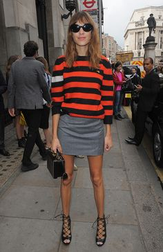 Surprise! Alexa Chung Is Launching her own FashionLine | Browse 20 street style looks that epitomize Chung's quirky-cool, boy-meets-girl style | @stylecaster | Stripe top + mini skirt and lace-up heels