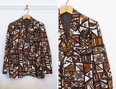 Men's Vintage 60's Sandwich Isles Brown Black and White Tiki Oasis Dream Suit Coat Summer Jacket | R 39 Small by AnimalHeadVintage on Etsy