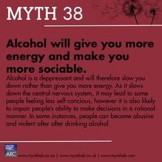 Myth 38  Alcohol will give you more energy and make you more sociable. visit our website for more about us www.myrehab.co.za