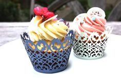 100 Lace Cupcake Wrappers Liner  NAVY FILIGREE by lisasu on Etsy, $60.00