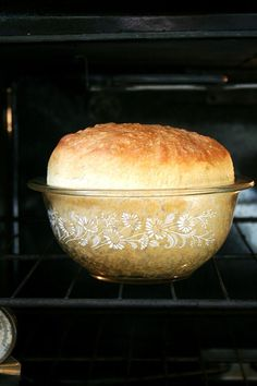 Peasant Bread ~ The Best Easiest Bread You Will Ever Make... It's a no-knead bread. It bakes in well-buttered pyrex bowls and it emerges golden and crisp. It's spongy and moist with a buttery crust