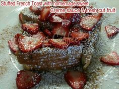 Doo wop coffee shop and ice cream parlor.   STUFFED FRENCH TOAST WITH HOMEMADE CREME SAUCE AND FRESH CUT FRUIT