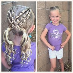 """329 curtidas, 14 comentários - Ashley Cardon (@ashley_cardon_hairstyles) no Instagram: """"Last day of summer camp! I was inspired to do this super cute hairstyle by @2littlegirls_hairstyles…"""""""