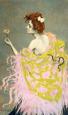 The Woman Gallery - Ramon Casas - Pastel and charcoal