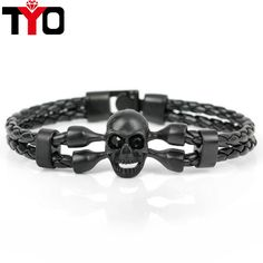 2017 New Fashion Pop Skull Bracelets For Men High Quality Leather Bracelets Popular Knighthood Friendship Charm Bracelets.