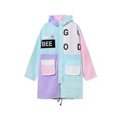 BEE PASTEL JACKET (39 CAD) ❤ liked on Polyvore featuring outerwear, jackets, coats & jackets, coats, pastel blue jacket, pastel jacket and blue jackets