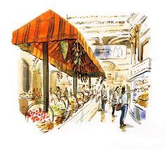 #DanWilliams #farmersmarket #openairmarket #shopping #vegetables #lifestyle #illustration #painting #acrylic #lindgrensmith