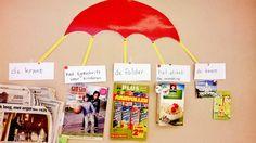 woordcluster: de krant - de folder - het etiket - de kaart - het tijdschrift voor kinderen