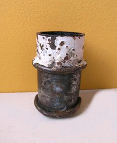reclaimed scrap metal turned into pencil/brush holder by paulaart on etsy