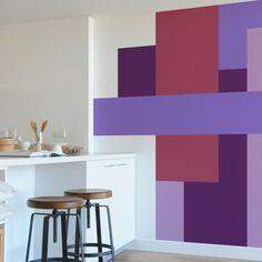 Color Block Purple Set Of 7 Wall Decals
