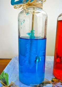 Make your own sugar crystal sticks. Saturated simple syrup in a bottle with food coloring, wet a bamboo stick, roll it in sugar and let it dry. Stick into the bottle and wait about 3 days.