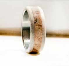 Mens wedding band with antler ring wood ring by StagHeadDesigns