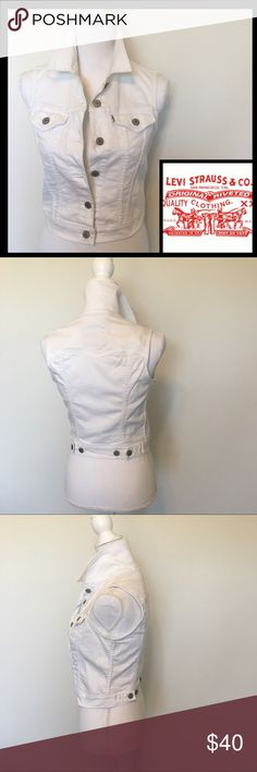 NWOT Levi's White Classic Jean Trucker Vest Iconic double stitch 6 button down trucker vest. 2 pocket front and adjustable 4 button closure hem in the back. A must have staple for the summer. Sz XS/TP. 99% Cotton 1% Elastane. Levi's Jackets & Coats Vests