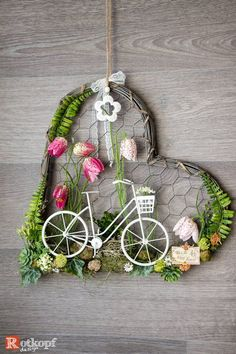 Door wreath heart shape door wreath times different spring deco bike The Effective Pictures We Offer You About modern spring wreaths diy A quality picture can tell you many th Diy Spring Wreath, Diy Wreath, Door Wreaths, St. Patrick's Day Diy, March Crafts, Spring Crafts, Upcycled Crafts, Diy And Crafts, Selling Handmade Items